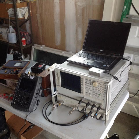 test equipment with PocketVNA atop HP VNA